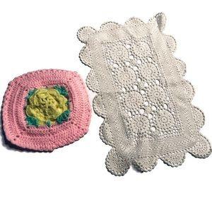 Vintage Crochet Doily Lot Yarn Pink Doilie Ivory